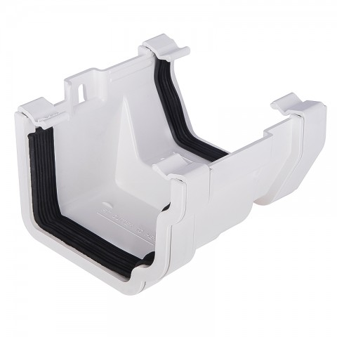 PVC Ogee to PVC Square Gutter Adaptor White