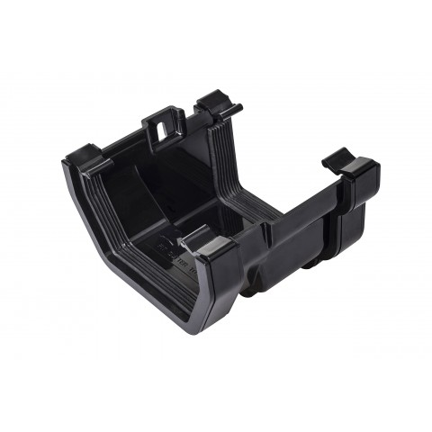 PVC Square Gutter to PVC Ogee Adaptor Black