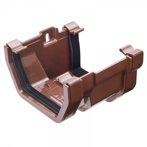 PVC Square Gutter to PVC Ogee Adaptor Brown