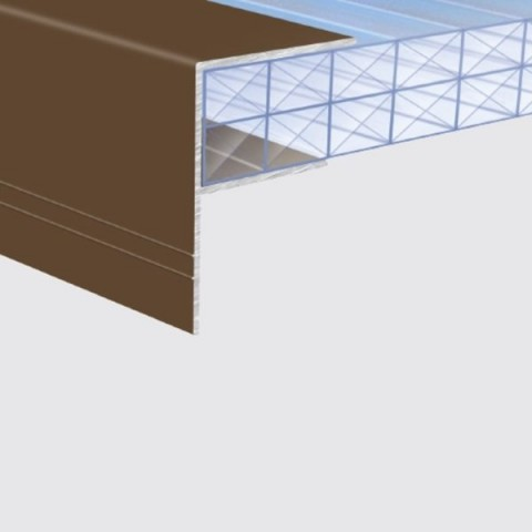 Aluminium 'F' Section 16mm x 4.0m Brown