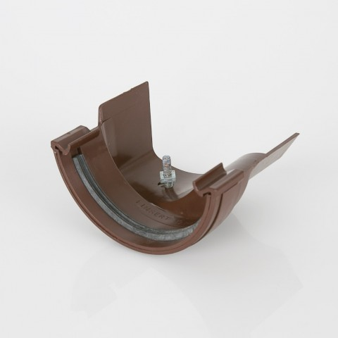 Half Round PVC Gutter to Ogee Cast Iron-Style Gutter Adaptor Right Hand Brown