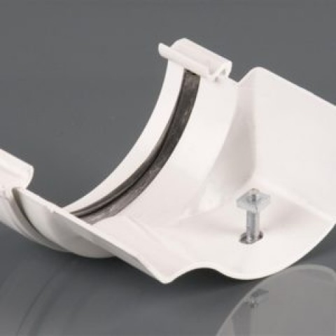 Half Round PVC Gutter to Ogee Cast Iron-Style Gutter Adaptor Right Hand White