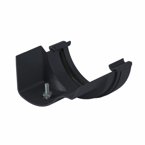 Half Round PVC Gutter to Ogee Cast Iron-Style Gutter Adaptor Left Hand Black