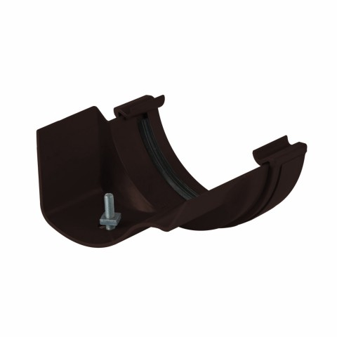 Half Round PVC Gutter to Ogee Cast Iron-Style Gutter Adaptor Left Hand Brown