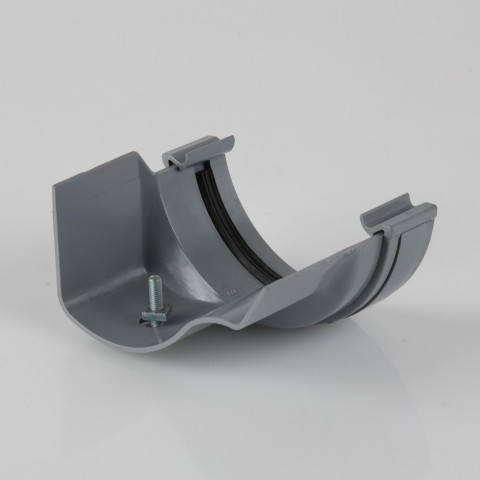 Half Round PVC Gutter to Ogee Cast Iron-Style Gutter Adaptor Left Hand Grey