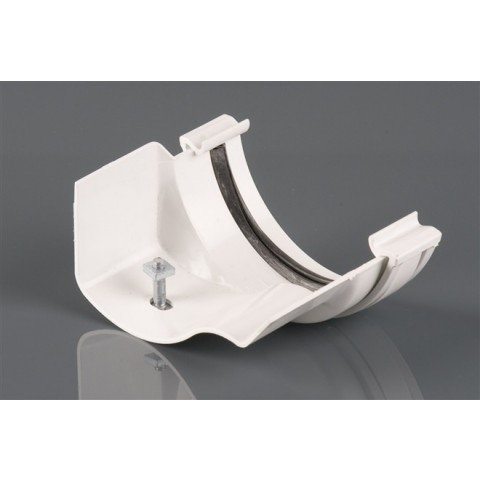 Half Round PVC Gutter to Ogee Cast Iron-Style Gutter Adaptor Left Hand White