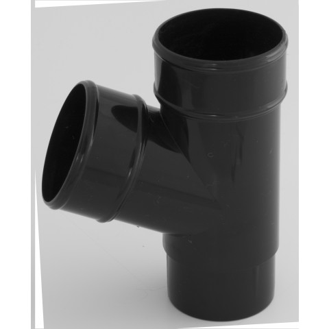 68mm Round Downpipe 112° Branch Black