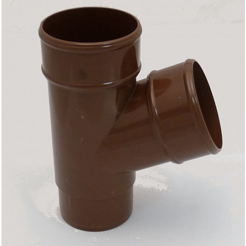 68mm Round Downpipe 112° Branch Brown