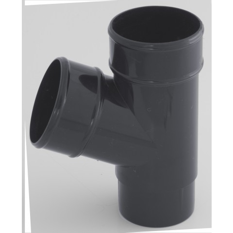 68mm Round Downpipe 112° Branch Dark Grey RAL 7016