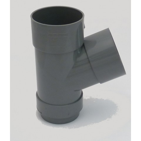 68mm Round Downpipe 112° Branch Grey