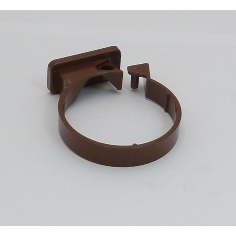 68mm Round Downpipe Single Fixing Pipe Clip Brown