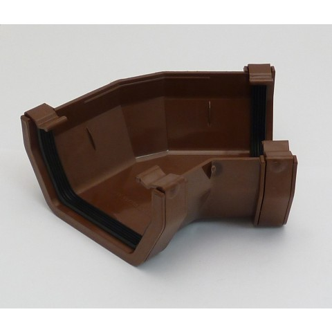 117mm Square Gutter 135° Angle Brown