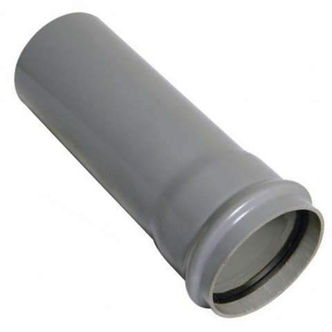 110mm Single Socket Soil Pipe 3m Grey