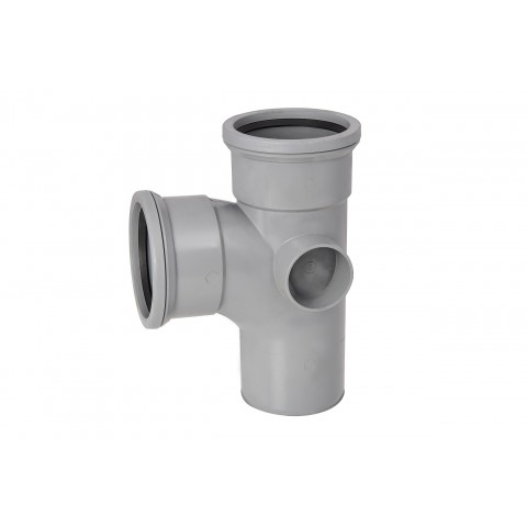 110mm Soil Pipe 90 Double Socket Branch Grey