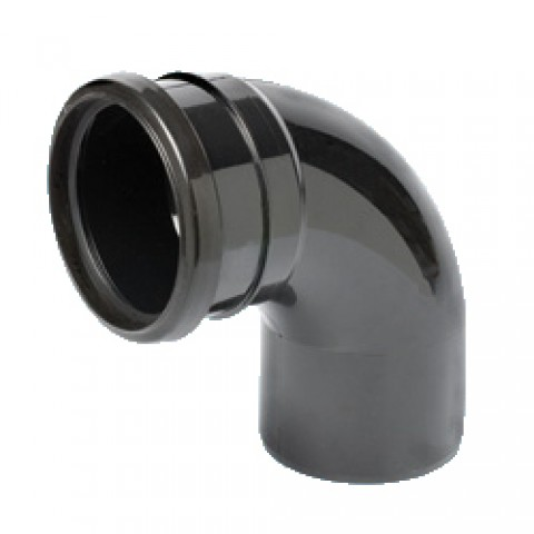 110mm Soil Pipe 90° Single Socket Bend Black