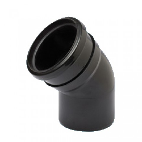 110mm Soil Pipe 135° Single Socket Bend Black