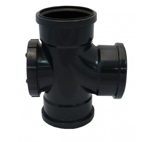 110mm Soil Pipe 90° Double Socket Access Branch Black