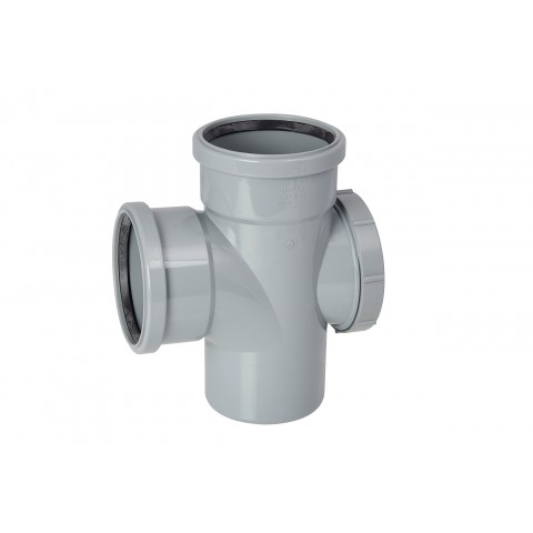 110mm Soil Pipe 90 Degree Double Socket Access Branch Grey