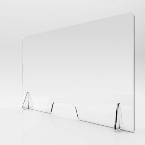 Polycarbonate Counter Screen with Feet 1010 x 747mm Clear