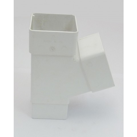 65mm Square Downpipe 112° Branch White