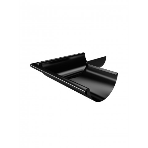 150mm Steel Half Round Gutter External Corner 90 Degree Black