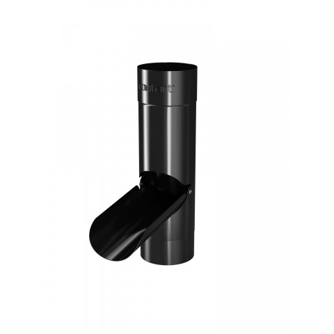 100mm Steel Round Pipe Rainwater Divertor Black